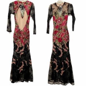 Sky Black lace Floral Maxi Dress / eve gown NWT